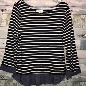 Per Se navy striped top size large
